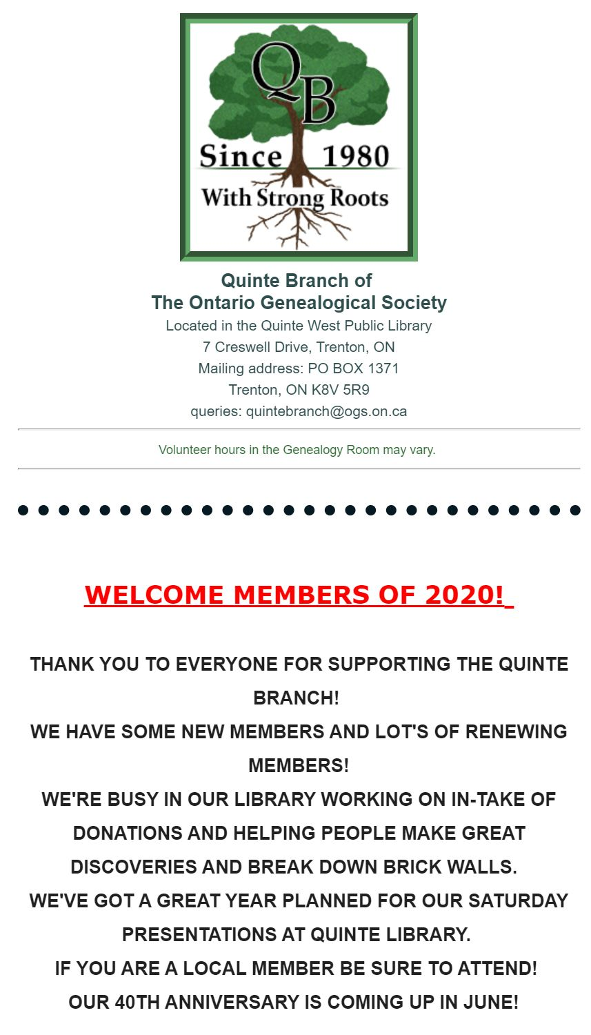 WELCOME 2020 - Quinte Branch of The Ontario Genealogical ...