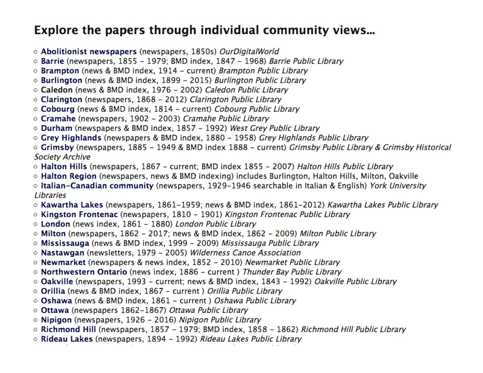 Explore the papers through individual community views